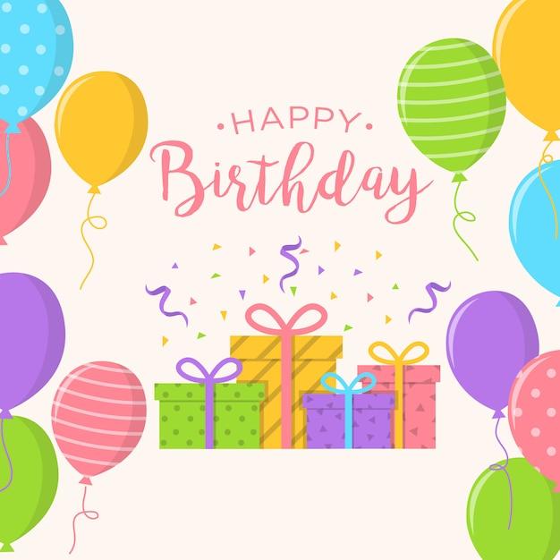 Alles Gute Zum Geburtstag Hintergrund Mit Ballons Und Geschenke Box
