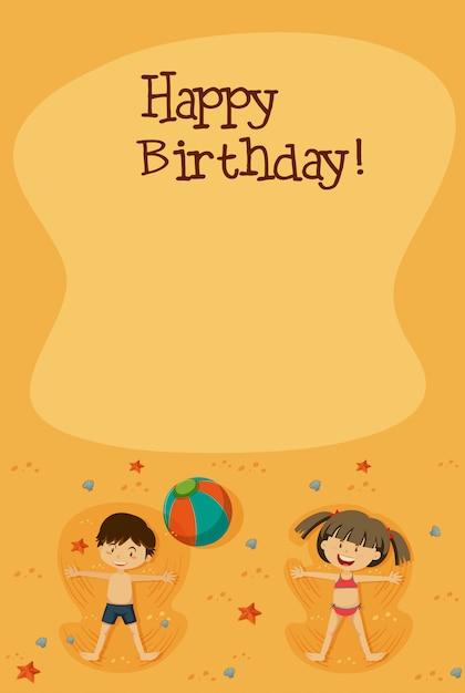 Alles Gute zum Geburtstag Karte mit Kindern am Strand | Download der ...