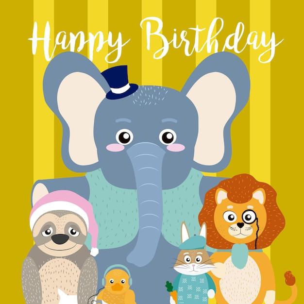 Alles Gute Zum Geburtstag Karte Mit Lustigen Tiere Cartoon