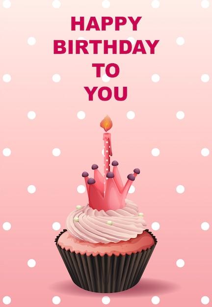 Alles Gute zum Geburtstag Kartenschablone mit rosa Cupcake ...