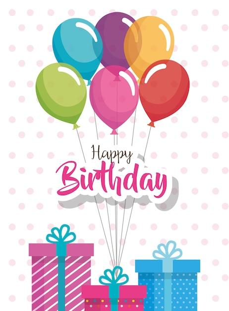 Alles Gute zum Geburtstag Luftballons und Geschenk Feier Karte ...