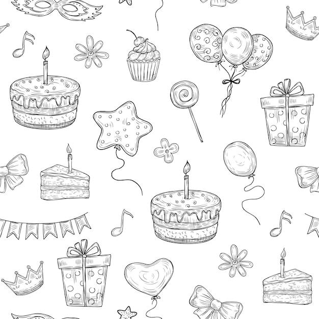 Alles gute zum geburtstag nahtloses muster. geburtstagsfeier party gezeichnet kuchen ballon kerze kinder urlaub gekritzel vintage textur Premium Vektoren