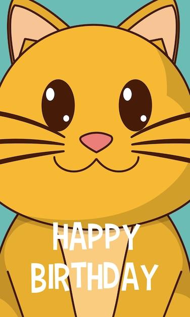 Alles Gute zum Geburtstag nette Karte der Katze | Download der ...