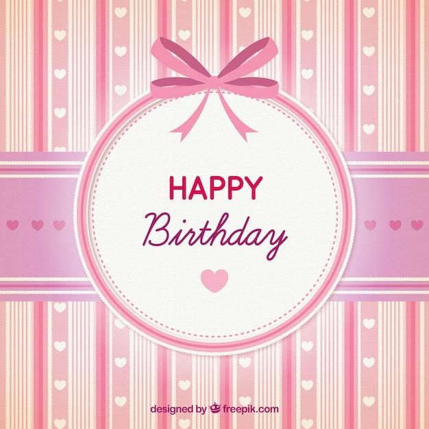 Alles Gute Zum Geburtstag Rosa Karte Download Der Premium Vektor