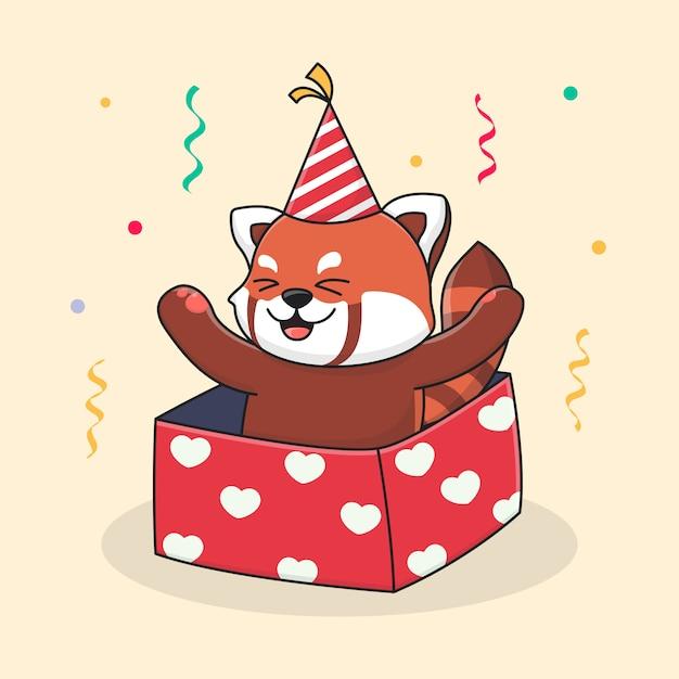 Alles gute zum geburtstag roter panda in der box und trägt einen hut Premium Vektoren