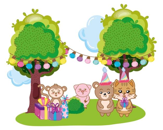 Alles Gute Zum Geburtstag Tiere Download Der Premium Vektor