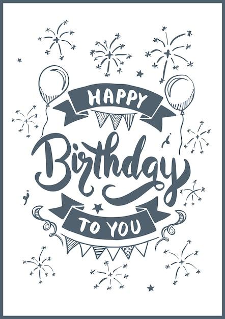 Alles Gute Zum Geburtstag Um Art Fur Geburtstagskarte Zu Zeichnen