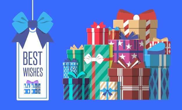 Alles- gute zum geburtstaggrußkarte mit geschenkbox Premium Vektoren