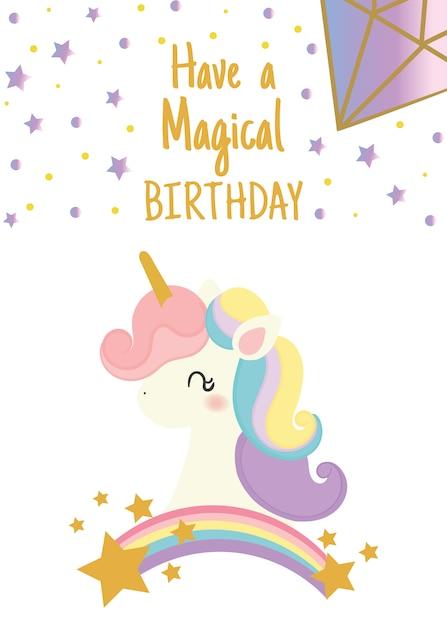 Alles Gute zum Geburtstagskarte mit niedlichen Einhorn | Download ...