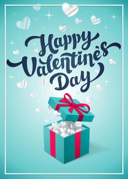 Alles gute zum valentinstag grußkarte mit roter geschenkbox Premium Vektoren