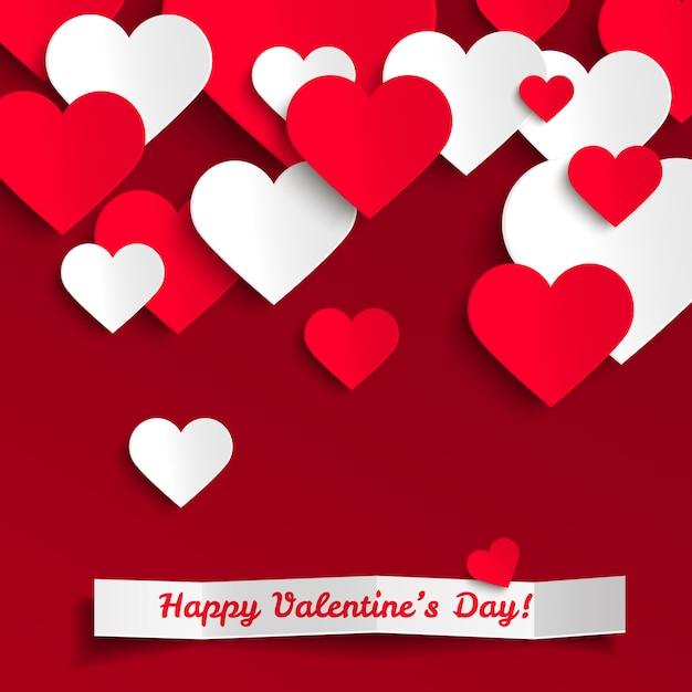 Alles gute zum valentinstag, rote und weiße papierherzen, grußkarte Premium Vektoren