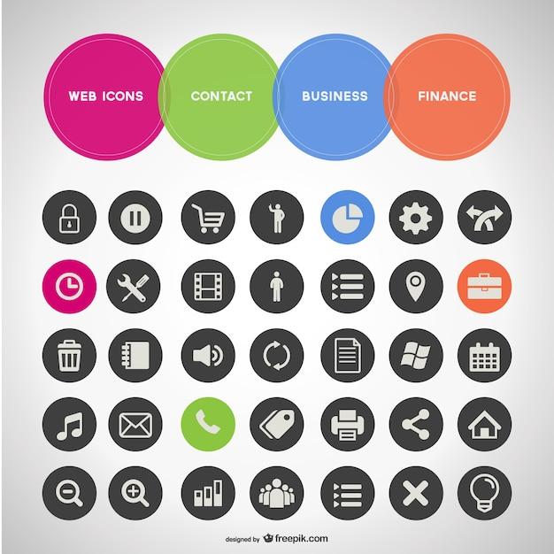 Allgemeine geschäfts reihe von icons Kostenlosen Vektoren