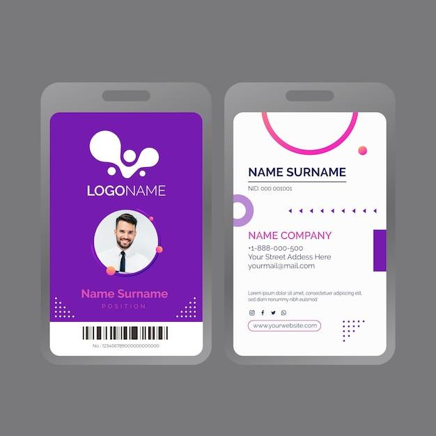 Allgemeine geschäftsausweisvorlage mit foto Kostenlosen Vektoren
