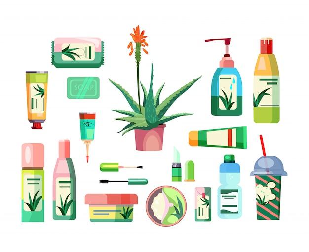 Aloe-produkte eingestellt Kostenlosen Vektoren