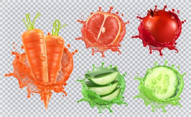 Aloe-saft, karotten, grapefruit, granatapfel, gurke. gesundheit und pflege. Premium Vektoren