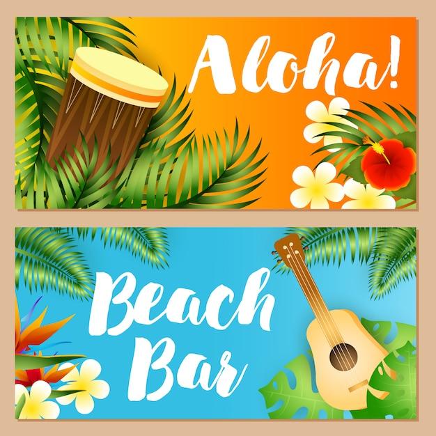 Aloha, beach bar schriftzüge gesetzt, tropische pflanzen, ukulele, trommel Kostenlosen Vektoren