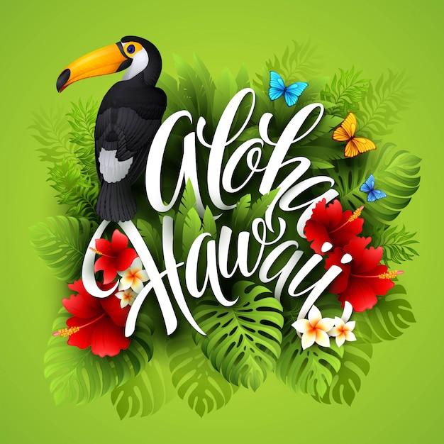 Aloha hawaii. handbeschriftung mit exotischen blumen. illustration Premium Vektoren