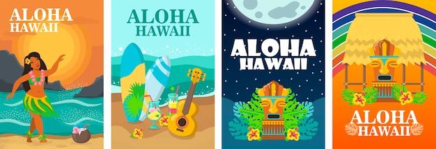 Aloha hawaii poster design set. tropischer strand, tänzer, surfbrett und ukulele-vektorillustration Kostenlosen Vektoren