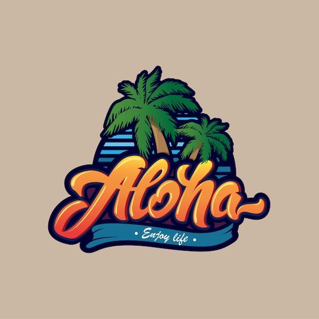 Aloha schriftzug logo. Premium Vektoren