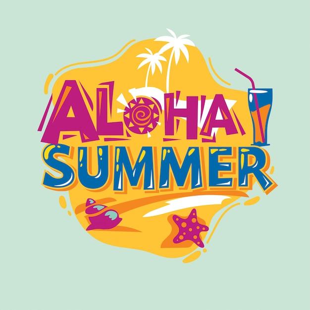 Aloha sommer. sommer-zitat Premium Vektoren