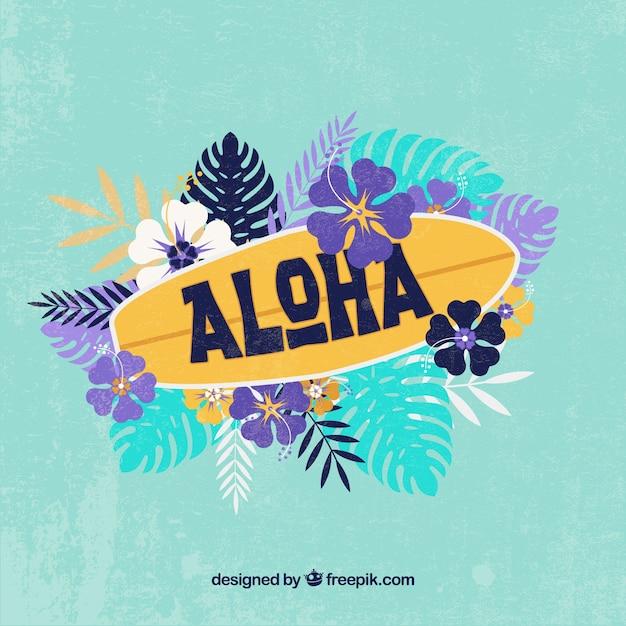 Aloha surfbrett hintergrund Premium Vektoren