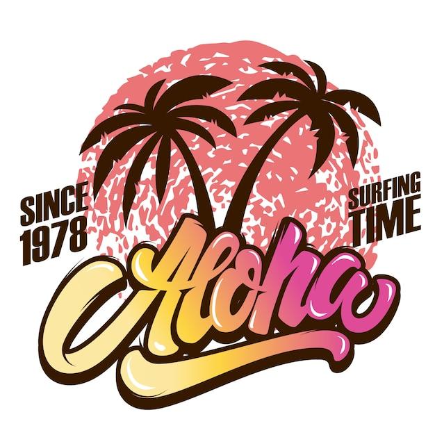 Aloha. surfzeit. plakatschablone mit beschriftung und handflächen. bild Premium Vektoren