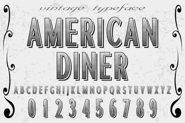 Alphabet american diner und label design Premium Vektoren
