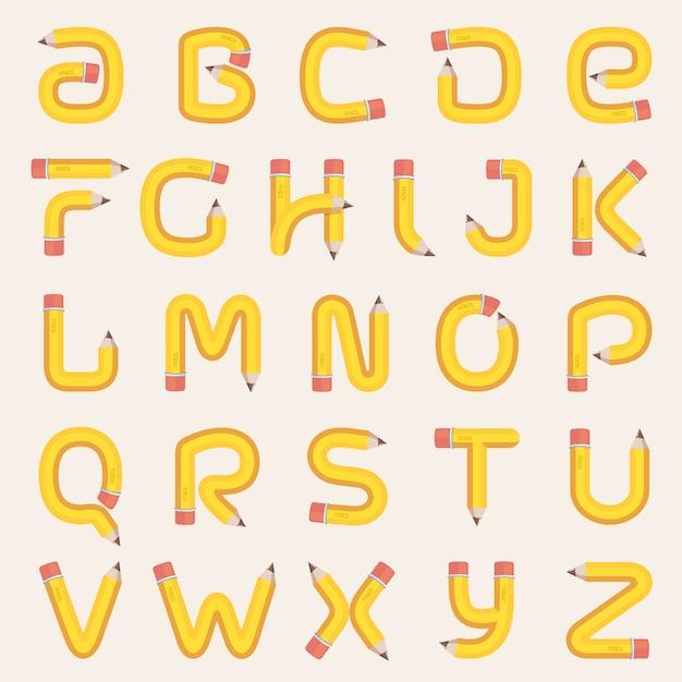 Alphabet aus bleistift. Premium Vektoren
