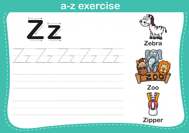 Alphabet az übung mit karikaturvokabularillustration Premium Vektoren