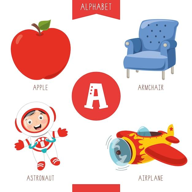 Alphabet Buchstabe A und Bilder Premium Vektoren