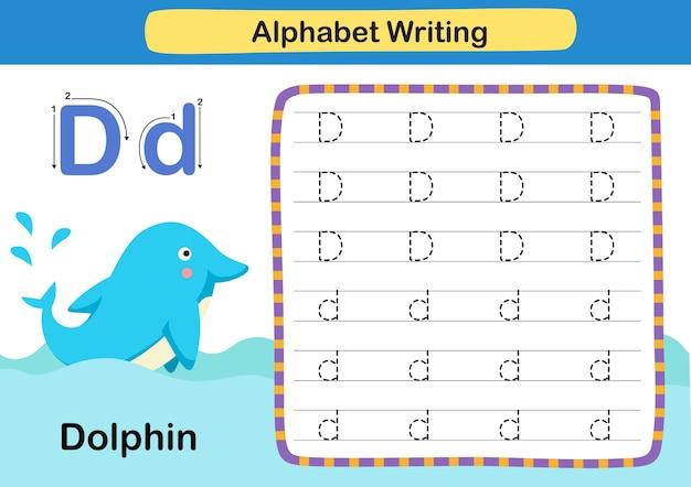 Alphabet buchstabe d delphinübung mit karikaturvokabularillustration Premium Vektoren