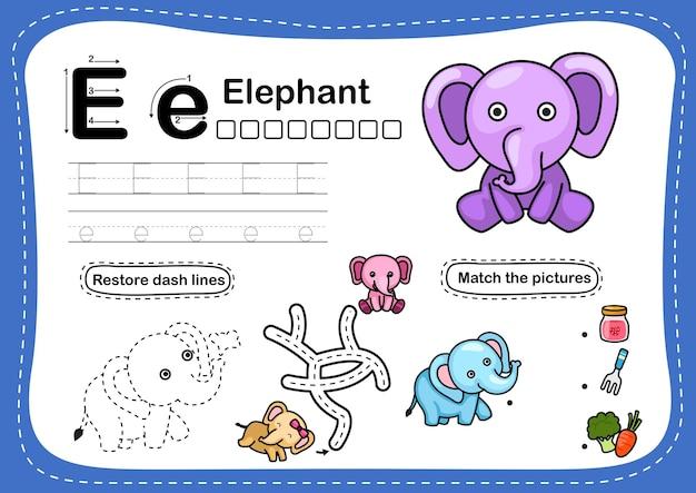 Alphabet buchstabe e-elefant übung mit cartoon vokabular Premium Vektoren