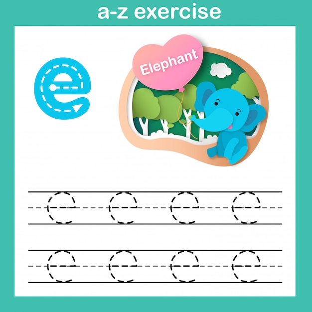 Alphabet-buchstabe-e-elefantübung, papier schnitt konzeptvektorillustration Premium Vektoren