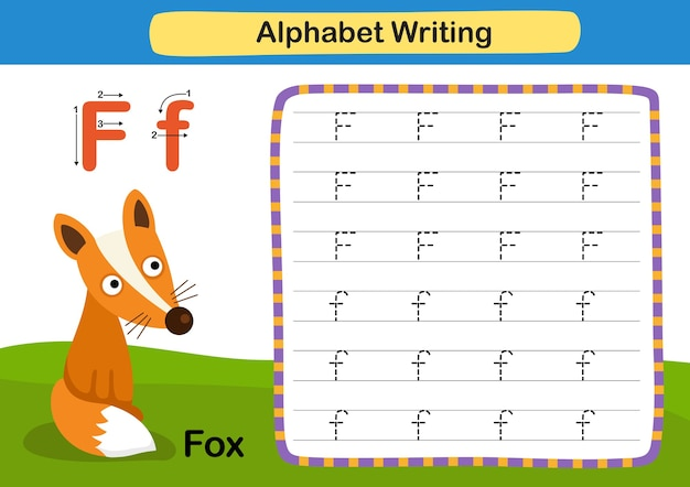 Alphabet buchstabe f fuchsübung mit karikaturvokabularillustration Premium Vektoren
