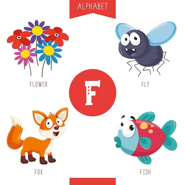 Alphabet Buchstabe F und Bilder Premium Vektoren