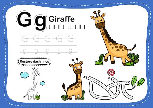 Alphabet buchstabe g-giraffe übung mit cartoon-vokabular Premium Vektoren