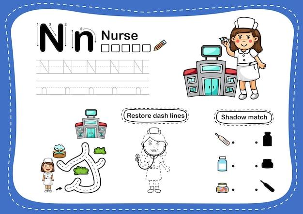 Alphabet buchstabe n-krankenschwester übung mit cartoon-vokabular Premium Vektoren