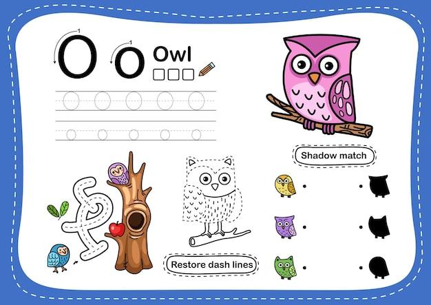 Alphabet buchstabe o-eule übung mit cartoon-vokabular Premium Vektoren