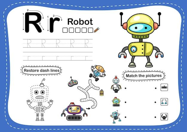 Alphabet buchstabe r-roboter übung mit cartoon-vokabular Premium Vektoren