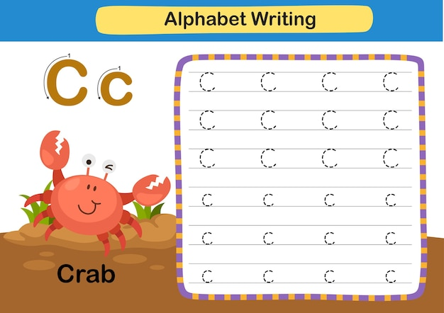 Alphabet buchstabe übung c krabbe mit karikaturvokabularillustration Premium Vektoren