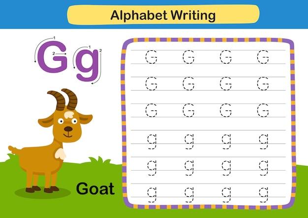Alphabet buchstabe übung g ziege mit karikaturvokabularillustration Premium Vektoren