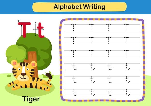 Alphabet buchstabe übung t tiger mit cartoon vokabular illustration Premium Vektoren