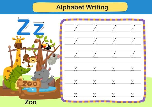 Alphabet buchstabe z zooübung mit karikaturvokabularillustration Premium Vektoren