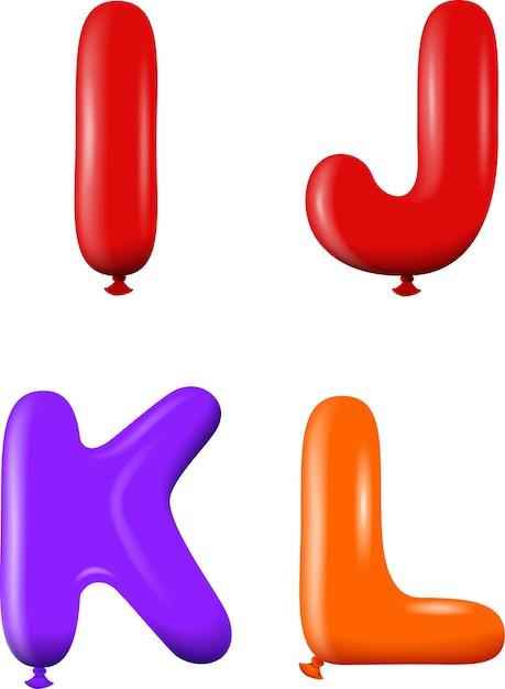 Alphabet Buchstaben IJKL Farben | Download der Premium Vektor