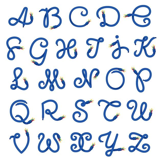 Alphabet buchstaben logo aus elektrokabel. Premium Vektoren