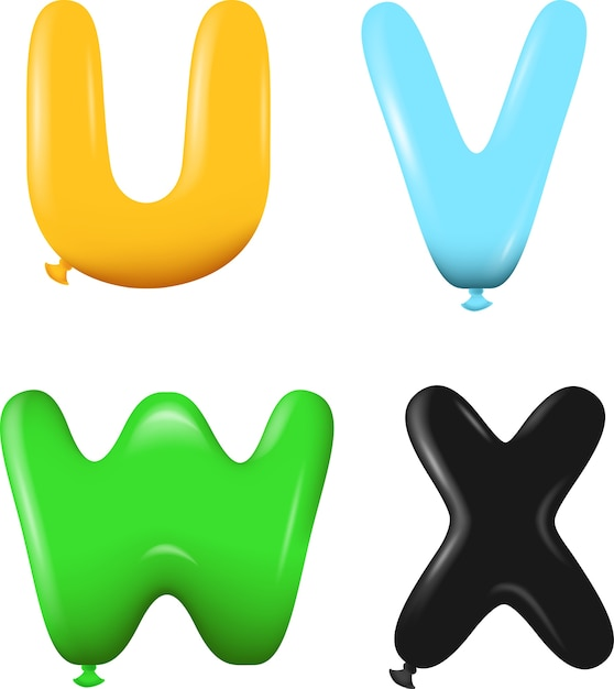 Alphabet Buchstaben UVWX Farben | Download der Premium Vektor