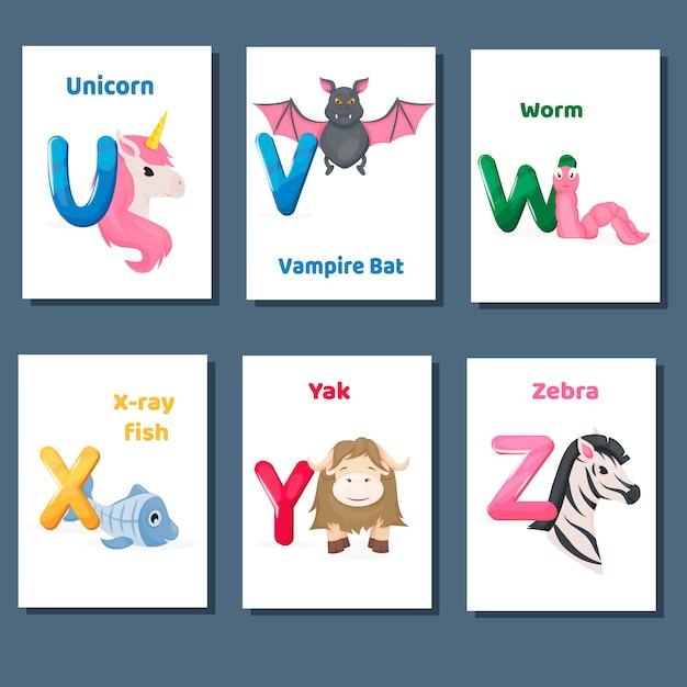 Alphabet druckbare karteikarten vektor sammlung mit buchstaben uvwxy z. zootiere für englisch sprachunterricht. Premium Vektoren