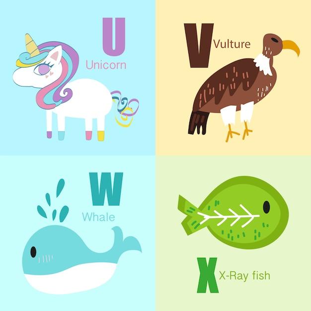 Alphabet-illustrationssammlung der u bis x tiere. Premium Vektoren