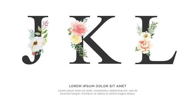Alphabet jkl blume und blätter aquarell. Premium Vektoren