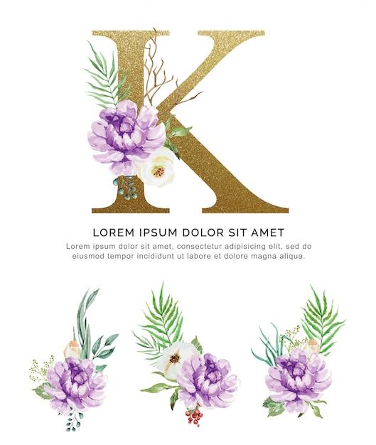 Alphabet k mit blumenstraußblumen-sammlungsaquarell. Premium Vektoren